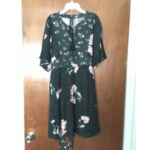 Boho Black floral dress